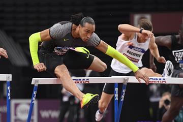 Pascal Martinot-Lagarde en route to his victory at the Indoor Meeting de Paris (KMSP/FFA)