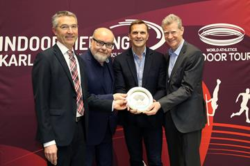 Sport Mayor Martin Lenz, Meet Director Martin Wacker, WA CEO Jon Ridgeon and Athlete Coordinator Alain Blondel with the World Athletics Heritage Plaque ceremony in Karlsruhe, 31 January 2020 ()