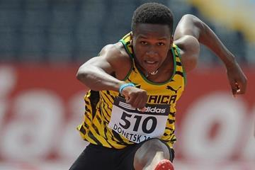 Jaheel Hyde in the boys' 110m Hurdles at the IAAF World Youth Championships 2013 (Getty Images)