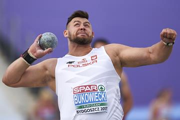 Konrad Bukowiecki in the shot put at the European U23 Championships in Bydgoszcz (Getty Images)