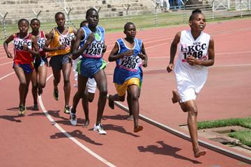 Pauline Korikwang (1249) wins the girls' 5000m at the Kenya National Quadrangular Championships (Omulo Okoth)