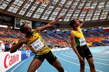 Usain Bolt and Warren Weir in the mens 200m at the IAAF World Athletics Championships Moscow 2013 (Getty Images)