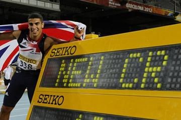 Adam Gemili of Great Britain celebrates after winning the Men's 100 metres Final on the day two of the 14th IAAF World Junior Championships in Barcelona 2012 (Getty Images)