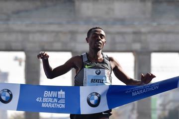 Kenenisa Bekele crosses the line to win the 2016 Berlin Marathon in 2:03:03 (John MacDougall/AFP/Getty)