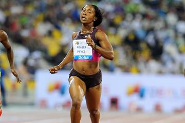 Shelly-Ann Fraser-Pryce wins the 200m in Doha (Errol Anderson)