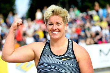 Anita Wlodarczyk after winning the hammer at the IAAF World Challenge meeting in Turku (Hasse Sjogren)