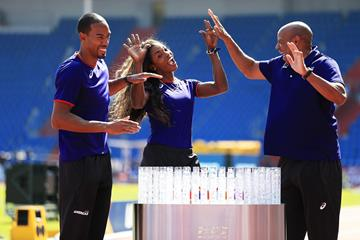 Christian Taylor, Caterine Ibarguen and Mike Powell in Ostrava (Getty Images)