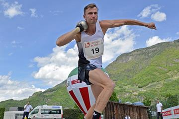 Kristjan Rosenberg in the decathlon shot put at the Multistars meeting in Lana (Daniele Morandi)