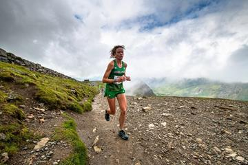Sarah McCormack in action at the Snowdon International Mountain Race, the fourth leg of the 2019 WMRA World Cup (WMRA)