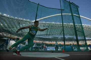 Hannes Hopley of South Africa in the men's discus (Getty Images)