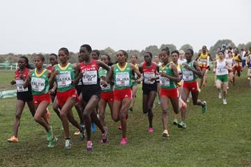 Agnes Tirop leads the senior women's race at the IAAF World Cross Country Championships, Guiyang 2015 (Getty Images)