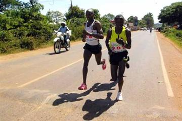 Nyeri Half Marathon winner, Peter Muriuki, bib 292, challenged on his way to victory by Vincent Lotram, who was eventually second (Ignatius Kemboi/Courtesy)