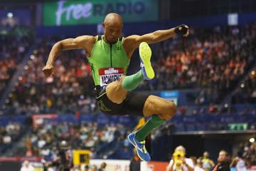 Godfrey Mokoena, the long jump winnerat the Muller Indoor Grand Prix in Birmingham (Getty Images)