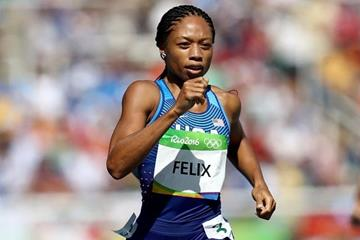 Allyson Felix in the women's 400m heats at the Rio 2016 Olympic Games (Getty Images)