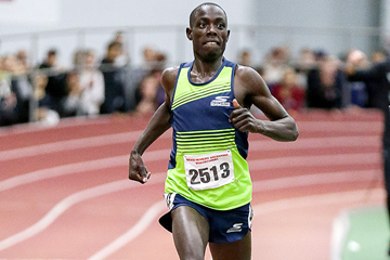 Edward Cheserek on his way to winning the mile at the BU David Hemery Valentine Invitational (Victah Sailer)