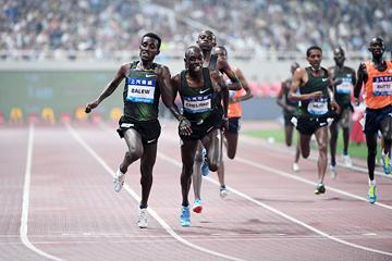 Birhanu Balew wins the 5000m at the IAAF Diamond League meeting in Shanghai (Errol Anderson)