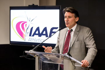 IAAF President Sebastian Coe speaks to IAAF staff in Monaco (Philippe Fitte / IAAF)