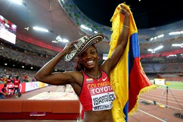 Caterine Ibarguen celebrates her triple jump victory at the IAAF World Championships, Beijing 2015 (Getty Images)