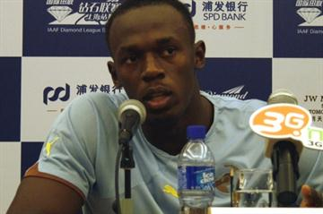 Usain Bolt at the pre-meet press conference in Shanghai (Bob Ramsak)