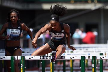 Kendra Harrison at the 2016 IAAF Diamond League meeting in Eugene (Kirby Lee)
