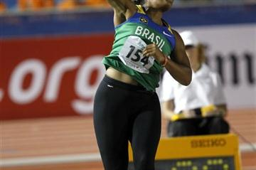 Brazil's Geisa Arcanjo unleashes the shot out to 17.02m to win gold (Getty Images)