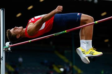 Jiri Sykora in the decathlon high jump at the 2014 IAAF World Junior Championships in Eugene (Getty Images)