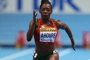 Murielle Ahoure in the 60m at the 2014 IAAF World Indoor Championships in Sopot (Getty Images)