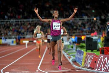 Hiwot Ayalew winning the 3000m steeplechase at the 2014 IAAF Diamond League meeting in Stockholm (DECA Text & Bild)