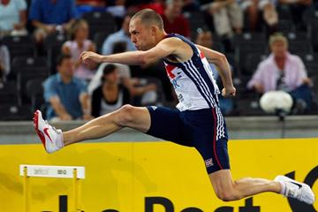 European leader David Greene of Great Britain & Northern Ireland takes some impressive scalps as he wins his heat of the men's 400m hurdles (Getty Images)