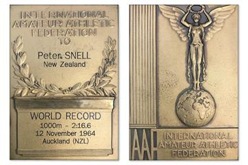 Peter Snell's 1000m world record plaque ()