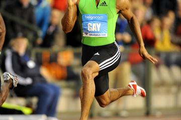 Tyson Gay en route to his 9.79 victory in Brussels (Jiro Mochizuki)