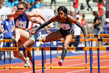 Erica Bougard in the heptathlon 100m hurdles at the IAAF Combined Events Challenge meeting in Florence (Organisers)