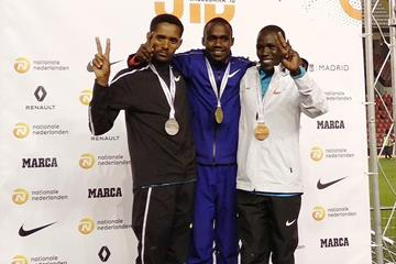 Jacob Kiplimo (centre) after winning the San Silvestre Vallecana in Madrid (Organisers)