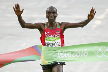 Eliud Kipchoge winning the 2016 Olympic marathon in Rio (GSC / ADHM)