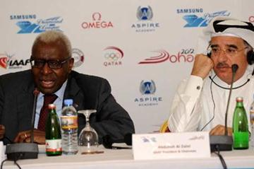 IAAF President Lamine Diack and QAAF President and meeting Director Abdullah Al Zaini (Jiro Mochizuki)
