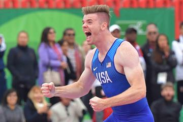 Chris Nilsen after winning the 2019 Pan American Games pole vault title (AFP/Getty Images)
