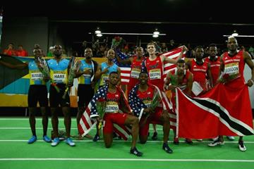 The 4x400m medallists at the IAAF World Indoor Championships Portland 2016 (Getty Images)