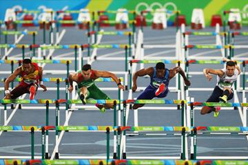 Orlando Ortega, Balazs Baji, Ronnie Ash and Andy Pozzi in the 110m hurdles at the Rio 2016 Olympic Games (Getty Images)