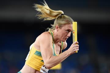 Sally Pearson of Australia in the women's 4x100m at the IAAF World Relays Yokohama 2019 (Getty Images)