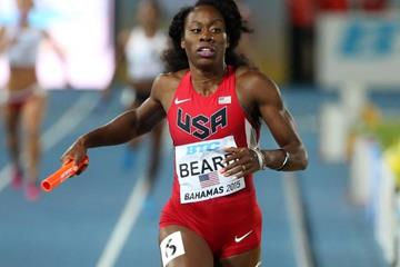 Jessica Beard of the USA in the 4x400m at the IAAF/BTC World Relays, Bahamas 2015 (Getty Images)