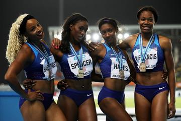 The USA women's quartet after winning the 4x400m in Nassau (Getty Images)