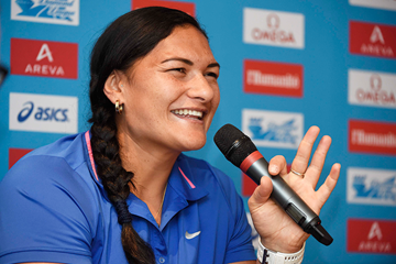 Valerie Adams at the press conference for the IAAF Diamond League meeting in Paris (Jean-Marie Hervio)