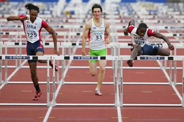 Wayne Davis of USA on his way to gold in the 110m Hurdles final (Getty Images)