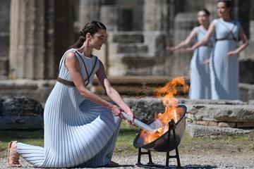 At the Olympic Torch lighting ceremony at Ancient Olympia, Greece (AFP/Getty Images)