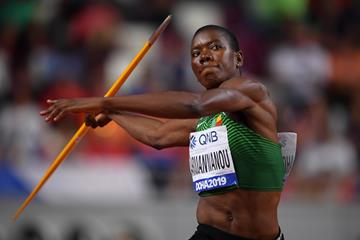 Odile Ahouanwanou of Benin in action in the heptathlon at the World Athletics Championships Doha 2019 (Getty Images)