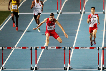 Norman Grimes winning the boys' 400m hurdles at the IAAF World Youth Championships, Cali 2015  (Getty Images)