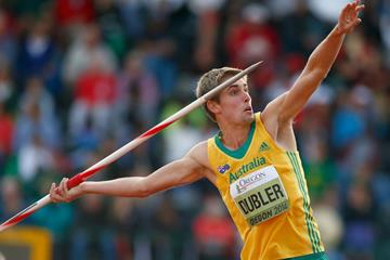 Cedric Dubler in the decathlon javelin at the IAAF World Junior Championships, Oregon 2014 (Getty Images)
