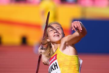 Alina Shukh in the javelin at the IAAF World U20 Championships Tampere 2018 (Roger Sedres)