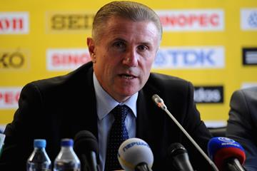 IAAF Vice President Sergey Bubka at the IAAF Press Conference 2013 for the IAAF World Youth Championships (Getty Images)