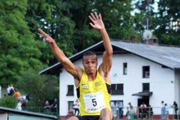 8.13m leap for Rogerio Bispo in Velenje (Milenko Stanic/AZS (Slovenian Federation))